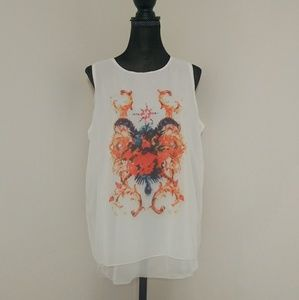 Tops - 💖Mesh White Colorful Graphic Boho Sleeveless Top